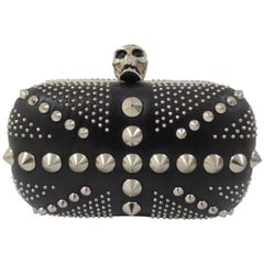 Alexander Mcqueen Black Silver studs and skull clutch