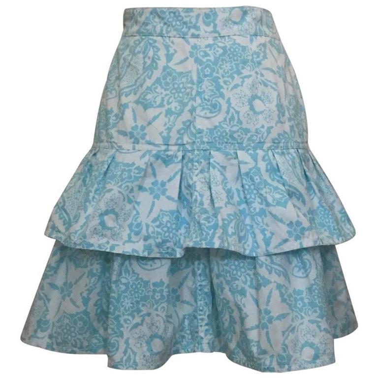 Oscar de la Renta 1990s White and Light Blue Floral Paisley Print Ruffle Skirt