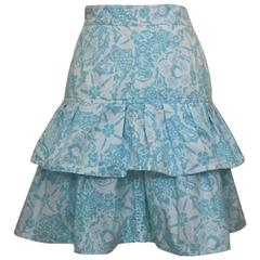 Oscar de la Renta White and Light Blue Floral Paisley Print Ruffle Skirt, 1990s