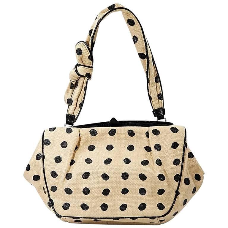 Tan & Black Alaia Raffia Shoulder Bag 1