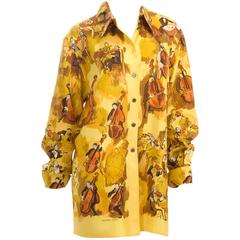 Vintage Hermes Silk Blouse - CONCERTO - motive design by Clerc size L - Like New