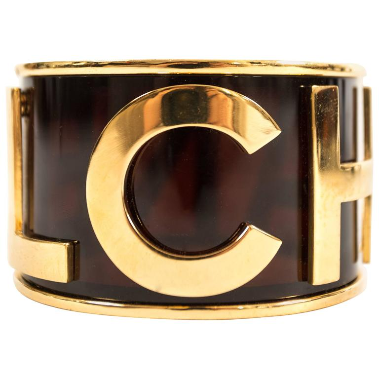 Chanel 1988 black and gold bangle bracelet