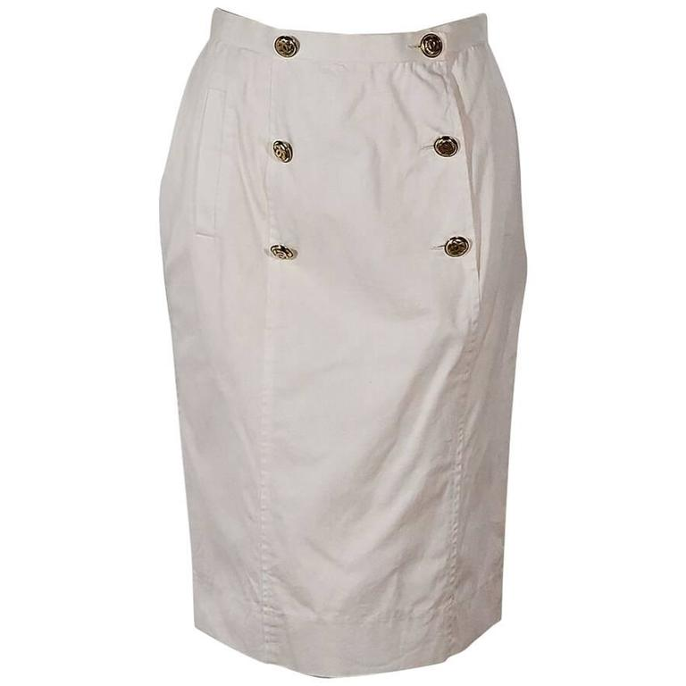White Vintage Chanel Double-Button Skirt For Sale