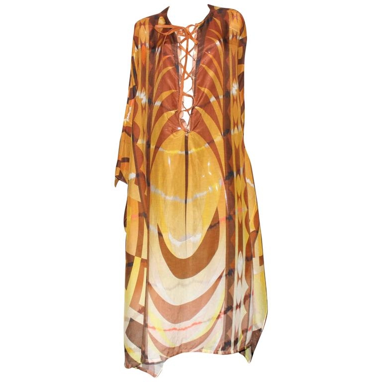 Stunning Emilio Pucci Leather Lace Up Print Maxi Kaftan Dress For Sale