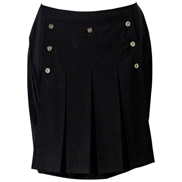 Black Vintage Chanel Pleated Sailor Shirt