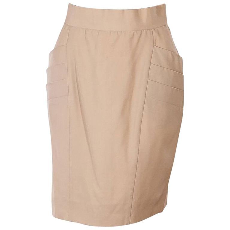 Tan Vintage Chanel Pleated Skirt