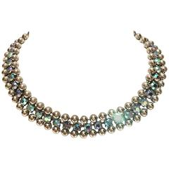 Sterling Silver & Swarofski Crystal Choker Necklace By, De Luxe NYC A'dam