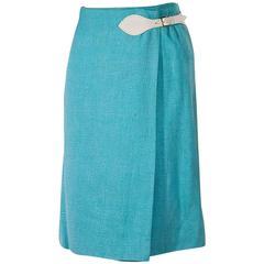 Teal Blue Vintage Hermès Wrap Skirt