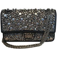 Chanel Black Leather Studded Classic Flap 2.55 Shoulder Bag
