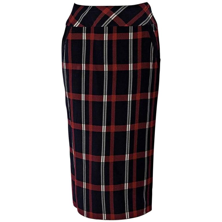 Multicolor Vintage Chanel Plaid Pencil Skirt