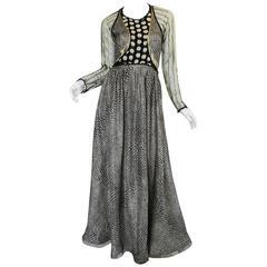 1970s Geoffrey Beene Couture Gold Metallic Lurex & Net Print Dress