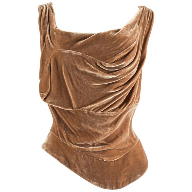 Vivienne Westwood Autumn-Winter 2001 drape velvet evening corset For Sale