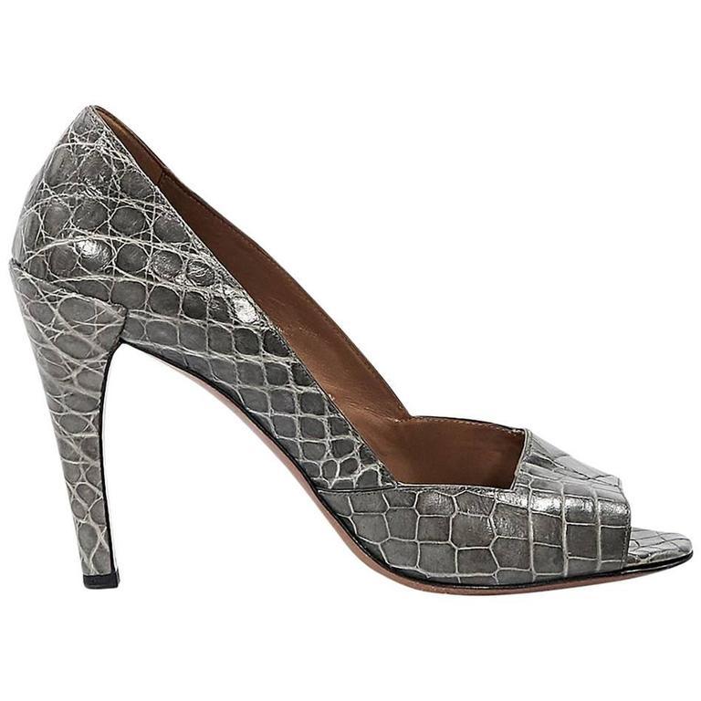 Grey Alaia Crocodile Pumps