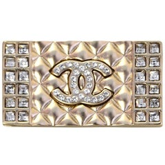 Chanel Pale Goldtone Quilted Pave Crystal CC Brooch Pin