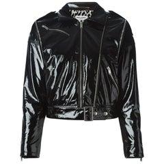 Saint Laurent Black Patent Effect Convertible Jacket/Vest sz FR44