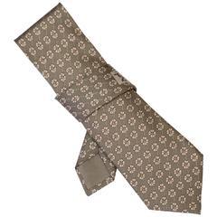 Hermes Grey Floral Print Silk Tie