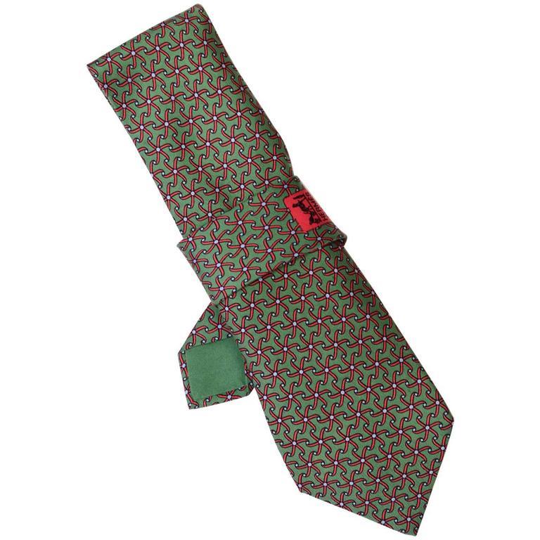 Hermes Green & Red Pin Wheel Print Silk Tie