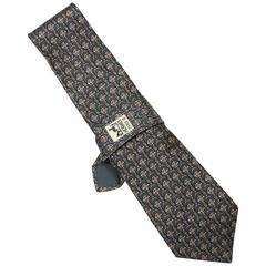 Hermes Slate Blue Stirrup Print Silk Tie