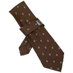 Hermes Brown Jewel Print Silk Tie