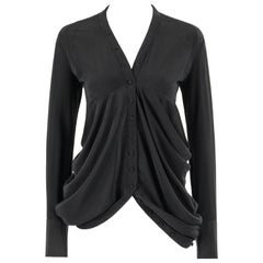 BALENCIAGA A/W 2009 Black Silk Asymmetrical Draped Button Front Blouse Top