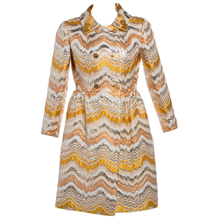 Bill Blass for Maurice Rentner Mod Metallic Zigzag Stripes Coat Dress, 1960s