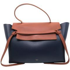 Celine Belt Bag Blue/ Brown Calfskin Leather Handbag