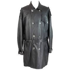 Versus Gianni Versace black leather motorcycle raincoat trench coat size 38/52
