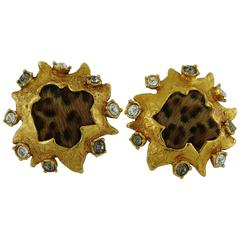 Christian Lacroix Vintage Jewelled Fur Clip-On Earrings