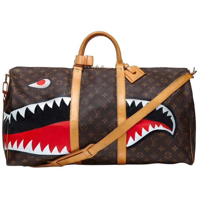 Customized Shark Vintage Louis Vuitton Monogram Keepall Bag For