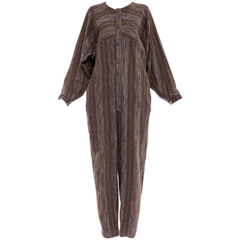 Issey Miyake Plantation Striped Woven Cotton Wood Buttons Jumpsuit, Circa 1980s For Sale