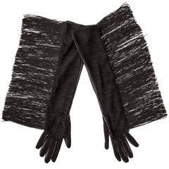 Alber Elbaz for Lanvin Long Black Leather Fringe Gloves, Fall 2014
