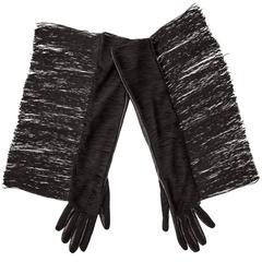 Alber Elbaz Lanvin Long Black Leather Fringe Gloves