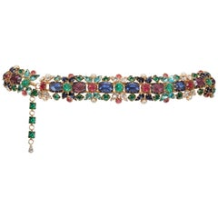 Multifaceted Multicolored Jeweled With Pearls Evening Belt