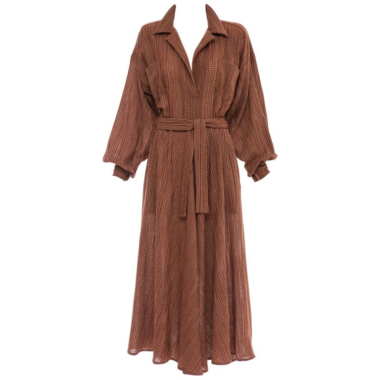 Norma Kamali Terracotta Cotton Gauze Windowpane Check Dress, Circa 1980's For Sale