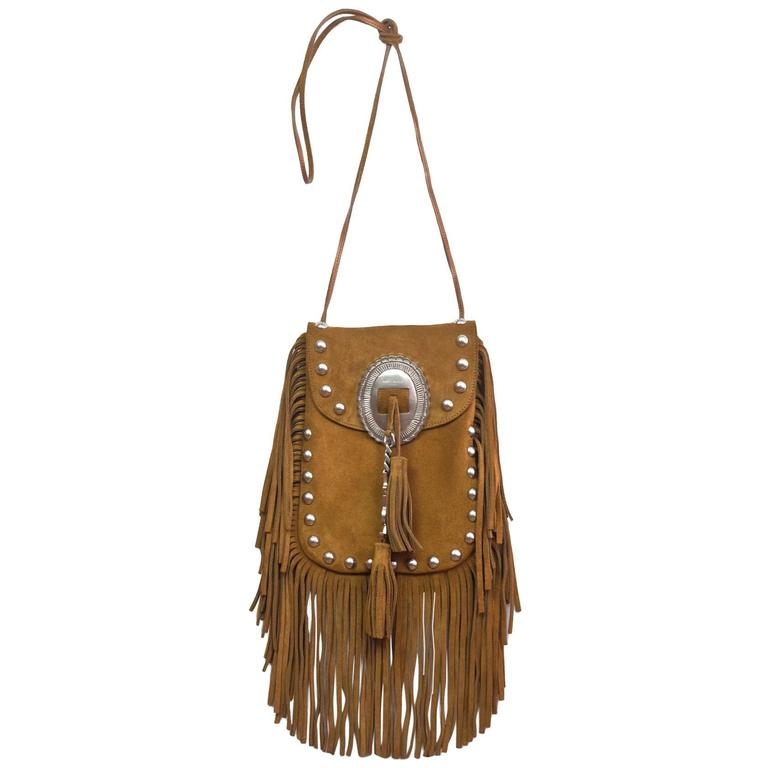 Saint Laurent Tan Suede Anita Fringe Crossbody Bag with Dust Bag