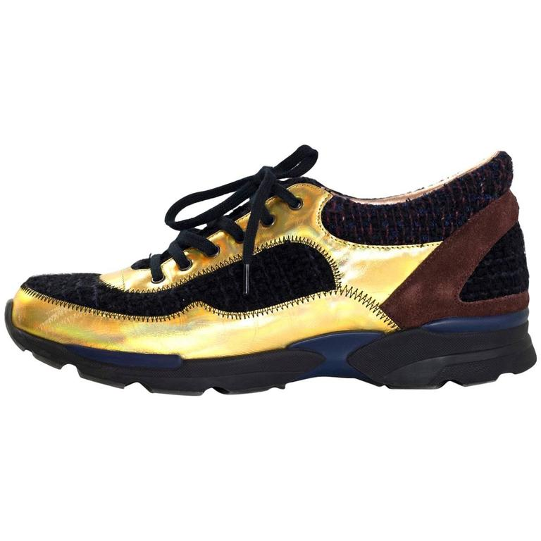Chanel Fall '14 Runway Black Tweed, Brown Suede & Gold Trainer Sneakers Sz 40 For Sale