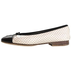 Chanel Beige & Black Perforated Ballet Flats Sz 36 with Box