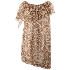 YVES SAINT LAURENT Resort 2010 YSL Abstract Print Silk Chiffon Tunic Top Dress