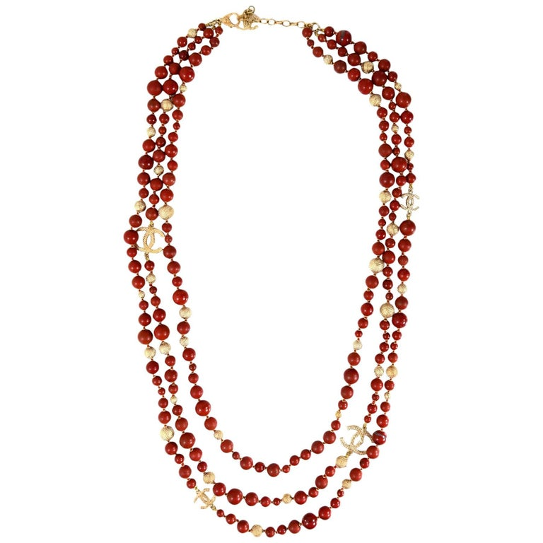Chanel Pre-Fall '16 Runway Brown Multi-Strand Beaded CC Necklace 1
