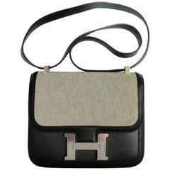 Hermes Constance 24cm Black Limited Edition Toile Criss