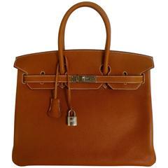 HERMES BIRKIN 35 Bag Barenia Faubourg Palladium Hardware RARE