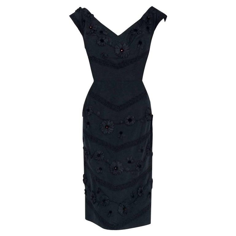 2ea811edfd2 1955 Antonelli Italian Couture Black Embroidered Applique Silk Cocktail  Dress For Sale