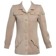 Vintage Yves Saint Laurent Silk Safari Tunic Top