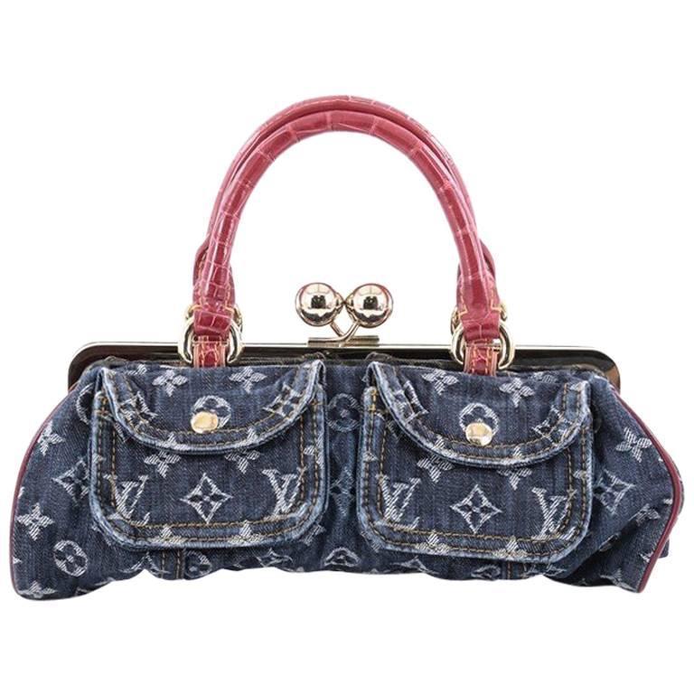 Louis Vuitton Sac Fermoir Handbag Denim With Alligator Gm