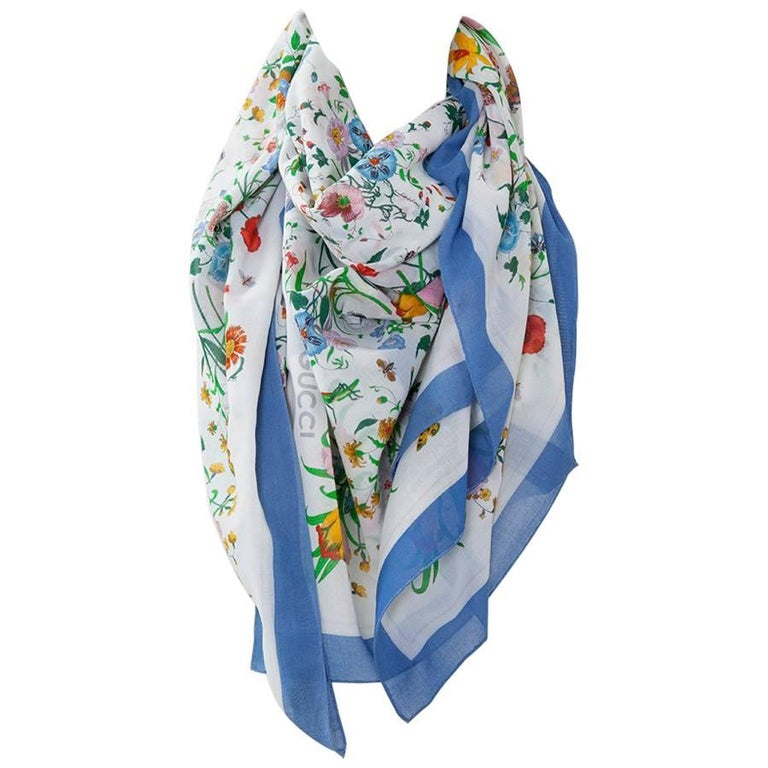 Large Gucci Flora Print Shawl Scarf For Sale