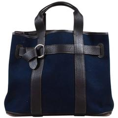 """Hermes Navy Canvas Brown Buffalo Leather """"Ceinture MM"""" Tote Bag"""