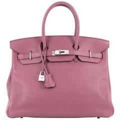 Hermes Birkin Handbag Bois de Rose Clemence with Palladium Hardware 35