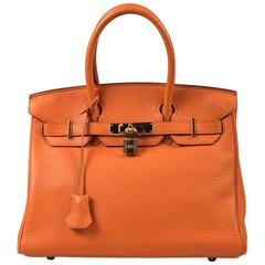 "Hermes Orange Grained Clemence Leather ""Birkin 30"" Satchel Tote Bag"