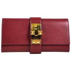 "Hermes ""Rouge Vif"" Red Swift Leather Gold Plated ""Medor 23"" Clutch Bag"
