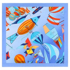 """HERMES A/W 2003 Loic Dubigeon """"Les Folies Du Ciel II"""" Flying Machine Silk Scarf"""